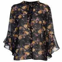 Miso Print Flute Blouse Ladies Black Floral Дамски ризи и тениски