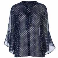Miso Print Flute Blouse Ladies Navy Dot Дамски ризи и тениски