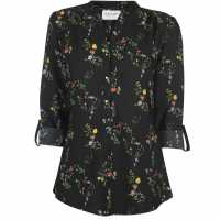 Miso Printed Blouse Ladies Black Дамски ризи и тениски