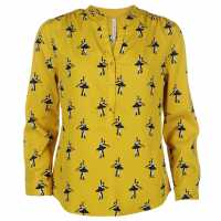 Full Circle Printed Blouse Ladies Chartreuse Дамски ризи и тениски