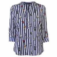 Miso Printed Blouse Ladies Navy Дамски ризи и тениски