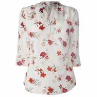 Miso Printed Blouse Ladies Cream Floral Дамски ризи и тениски