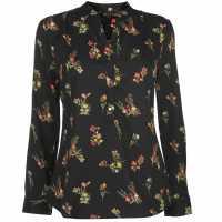 Miso Printed Blouse Ladies Black Floral Дамски ризи и тениски
