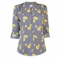 Miso Printed Blouse Ladies Navy/Yellow Дамски ризи и тениски