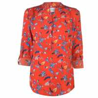 Miso Printed Blouse Ladies Red/Blue Дамски ризи и тениски