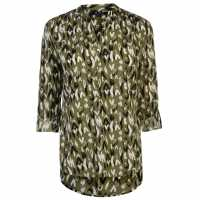 Miso Printed Blouse Ladies Khaki Дамски ризи и тениски