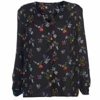 Full Circle Print Blouse Ladies Navy Дамски ризи и тениски