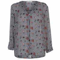 Full Circle Print Blouse Ladies White/Navy Дамски ризи и тениски