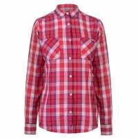 Lee Cooper Карирана Риза Дълъг Ръкав Long Sleeve Check Shirt Ladies Pink/White Дамски ризи и тениски