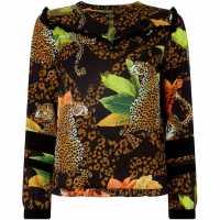 Usc Biba Jungle Frill Top Multi-Coloured Дамски ризи и тениски