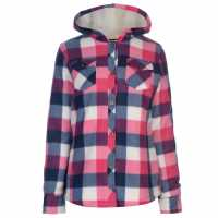 Lee Cooper Fleece Lined Shirt Ladies Navy/Pink/Ecru Дамски ризи и тениски