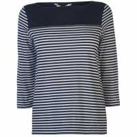 Tommy Hilfiger Тениска Mirthe  Three Quarter Sleeve T Shirt Sky Cpt/White Дамски дънки