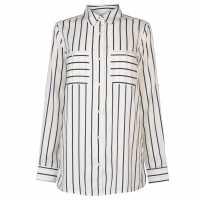 Kangol Риза С Дълъг Ръкав Long Sleeve Shirt Ladies White/Navy Str Дамски ризи и тениски