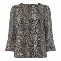 Biba Contour Cuff Shell Blouse Snake Print Дамски ризи и тениски