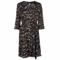Miso Дамска Рокля Print Wrap Dress Ladies Black 3/4 Дамски поли и рокли