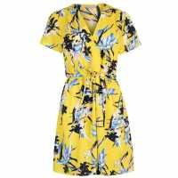 Miso Дамска Рокля Print Wrap Dress Ladies Yellow-Wrap Дамски поли и рокли