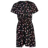 Miso Дамска Рокля Print Wrap Dress Ladies Black-Wrap Дамски поли и рокли