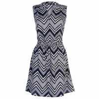 Miso Дамска Рокля Print Wrap Dress Ladies White/Nvy Sless Дамски поли и рокли