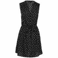 Miso Дамска Рокля Print Wrap Dress Ladies Blk/wht S/less Дамски поли и рокли