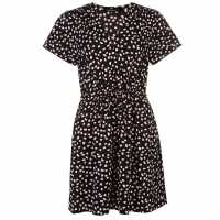 Miso Дамска Рокля Print Wrap Dress Ladies Black/Pink Дамски поли и рокли