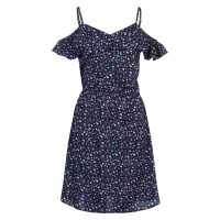 Miso Дамска Рокля Print Wrap Dress Ladies Navy Strappy Дамски поли и рокли