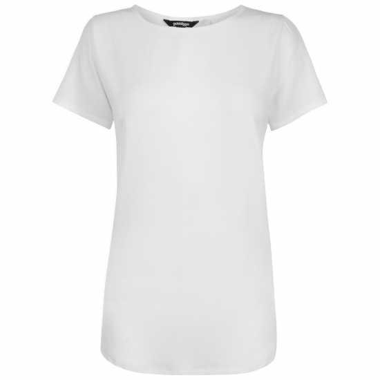 Golddigga Дамска Тениска Crimped Split T Shirt Ladies White Дамски тениски и фланелки