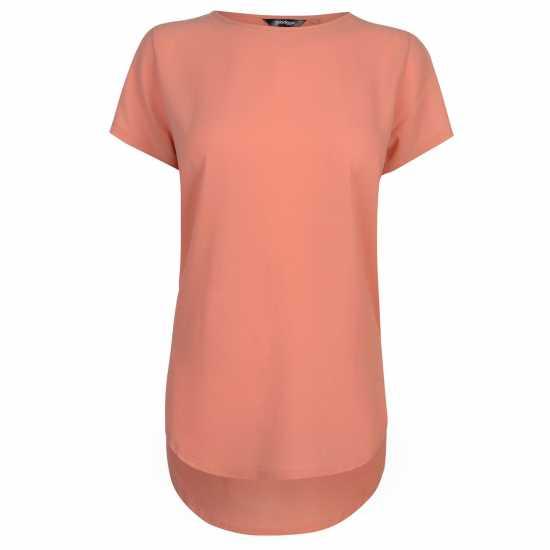 Golddigga Дамска Тениска Crimped Split T Shirt Ladies Coral Дамски тениски и фланелки