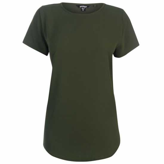 Golddigga Дамска Тениска Crimped Split T Shirt Ladies Khaki Дамски тениски и фланелки