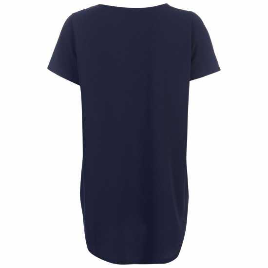 Golddigga Дамска Тениска Crimped Split T Shirt Ladies Navy Дамски тениски и фланелки