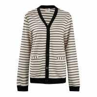 Lee Cooper Дамска Жилетка Button Cardigan Ladies Blk/White Дамски пуловери и жилетки