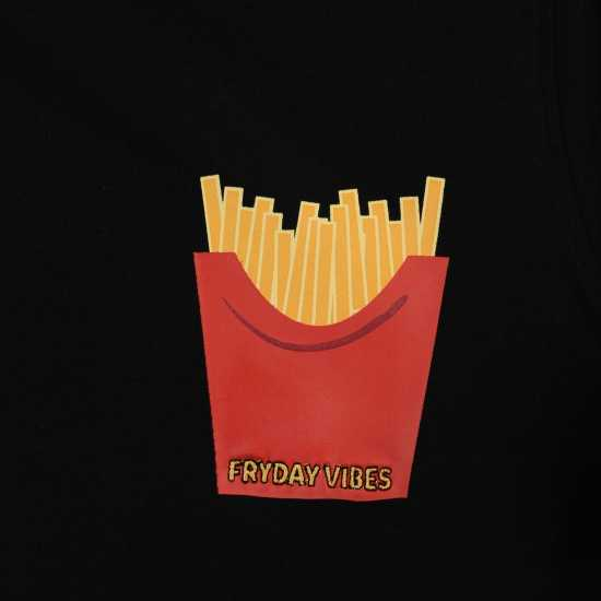 Golddigga Дамска Тениска Roll Sleeve T Shirt Ladies Fries Дамски тениски и фланелки