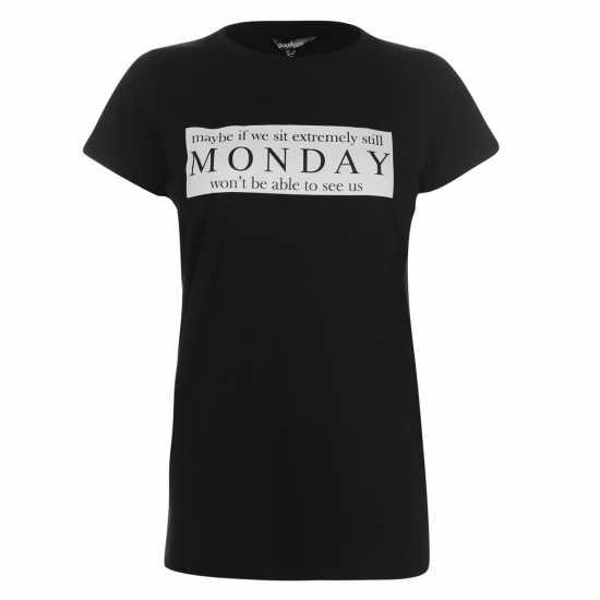 Golddigga Дамска Тениска Slogan T Shirt Ladies Monday Дамски тениски и фланелки