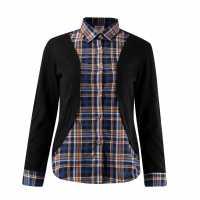 Lee Cooper Дамска Жилетка Check Shirt And Cardigan Ladies Blue/Check Дамски ризи и тениски