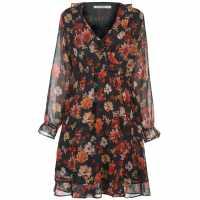 Full Circle Дамска Рокля Printed Frill Dress Ladies Multi Дамски поли и рокли