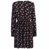 Full Circle Дамска Рокля Print Dress Ladies Black Floral Дамски поли и рокли