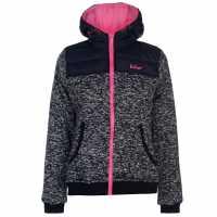 Lee Cooper Дамско Яке С Качулка Padded Knit Hooded Jacket Ladies Navy/Pink Дамски якета и палта