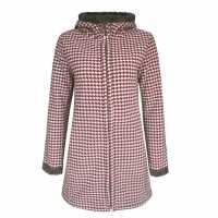 Lee Cooper Дамско Палто Heavy Faux Fur Lined Coat Ladies Red/Chk Дамски якета и палта