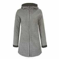 Lee Cooper Дамско Палто Heavy Faux Fur Lined Coat Ladies Blk/Chk Дамски якета и палта