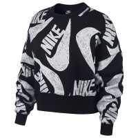 Nike Дамска Блуза Обло Деколте Icon Clash Crew Sweatshirt Ladies Black Дамски суичъри и блузи с качулки