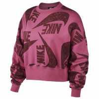 Nike Дамска Блуза Обло Деколте Icon Clash Crew Sweatshirt Ladies Pink Дамски суичъри и блузи с качулки