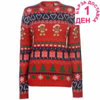 Star Дамски Коледен Пуловер Christmas Knitted Jumper Ladies