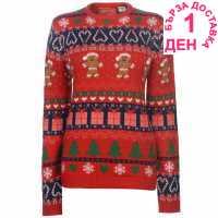 Star Дамски Коледен Пуловер Christmas Knitted Jumper Ladies GB Fairisle Коледни пуловери