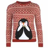 Star Дамски Коледен Пуловер 3D Xmas Knitted Jumper Ladies Red - Penguin Коледни пуловери