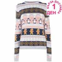 Star Плетен Дамски Пуловер Christmas Knit Jumper Ladies Pom Fairisle Коледни пуловери