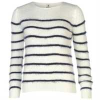Soulcal Deluxe Slouch Knitted Jumper Cream/Navy Дамски пуловери и жилетки