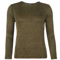 Golddigga Плетен Дамски Пуловер Lurex Knitted Jumper Ladies Black/Gold Дамски пуловери и жилетки