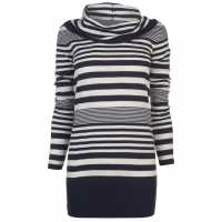 Lee Cooper Плетен Дамски Пуловер Essential Cowl Knit Jumper Ladies Navy Stripe Дамски пуловери и жилетки