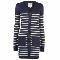 Lee Cooper Дамска Жилетка Stripe Long Cardigan Ladies Navy/White Дамски пуловери и жилетки