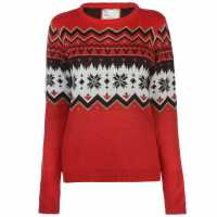 The Spirit Of Christmas Novelty Jumper Ladies Red Коледни пуловери