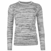 Soulcal Плетен Дамски Пуловер Classic Crew Knit Jumper Ladies White/Blk Twist Дамски пуловери и жилетки